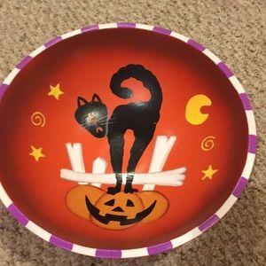 Wooden Halloween bowl